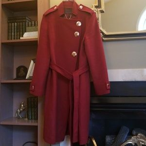 Ginger & smart red coat with rose gold buttons